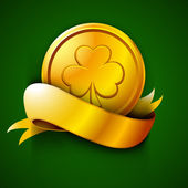 Irish St. Patrick's Day green background with golden coin and ri — ストックベクタ