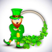 Saint Patrick's Day concept with happy leprechaun on shamrocks l — Stock Vector