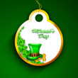 Happy St. Patrick's Day tag or sticker with leprechaun hat, cold — Stock Vector