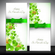 Shamrock decorated banner set for Happy St. Patrick's Day. — Stock Vector