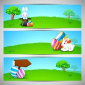 Website header or banner set for Happy Easter. — Stock Vector