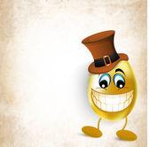 Eski arka plan üzerinde şapka mutlu altın paskalya yortusu yumurta. — Stok Vektör