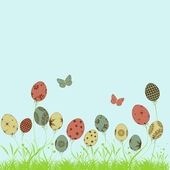 Happy Easter background, poster or banner with colorful butterfl — Stockvector