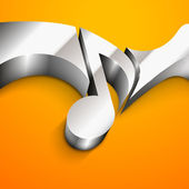 3D abstract glossy musical note on yellow background. — Stock Vector