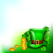 Saint Patrick's Day background or greeting card with Leprechaun — 图库矢量图片