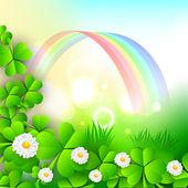 Trébol irlandés hojas y flores sobre fondo de arco iris para happ — Vector de stock