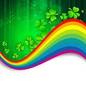 Feuilles de trèfle irlandais avec fond arc-en-ciel pour st. heureux patr — Vecteur