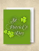 Shamrock leave greeting or gift card for Happy St. Patrick's Day — Stock vektor