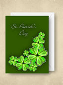 Shamrock leave greeting or gift card for Happy St. Patrick's Day — Stock Vector