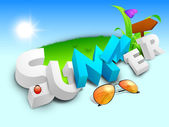 Abstract summer background with sunglasses, sign board, butterfl — Stock Vector