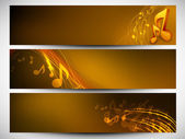 Musical website banner set. EPS 10. — Stockvector
