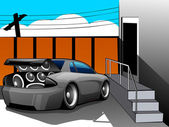 Abstract Musical Car with loud speakers. — Vetor de Stock
