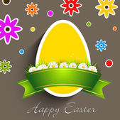Easter egg with ribbon on floral background. — Stock Vector