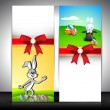 Easter banner set with ribbon. — Stock Vector
