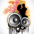 Musical dance party background. flyer or banner. — Stock Vector #22911026