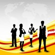 Silhouette of business persons on wave background. EPS 10.  — Imagens vectoriais em stock