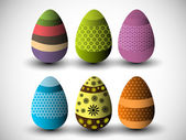 Colorful, beautifully decorated Easter Eggs on grey background — Stock Vector