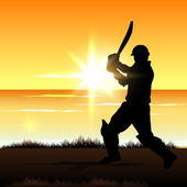 Cricket batsman in playing motion, sports concept. — Stock Vector