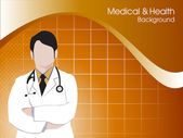 Health and medical background with Doctor (Male). EPS 10 — Stock Vector