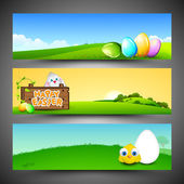 Website header or banner set with little chick, cute bunny and p — Stock Vector