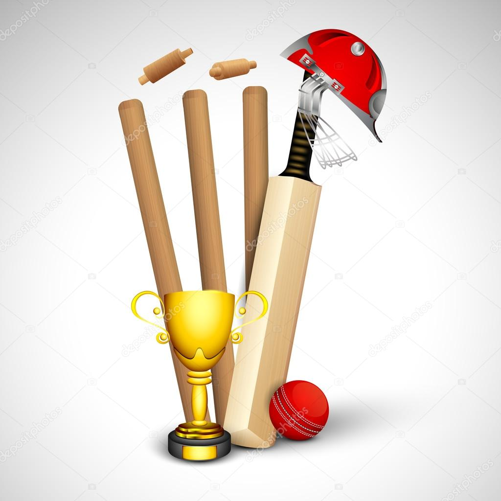 Abstract sports concept with cricket ball on wicket stumps ...