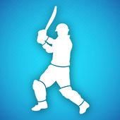 Bateador de cricket en reproduce el movimiento, concepto deportivo. — Vector de stock