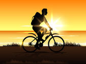 BMX cyclist in evening background.EPS 10 — Stock Vector