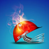 Cricket helmet in flame on blue background. — Stock Vector