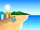 Summer background with view of beach huts at noon time. — Stock Vector