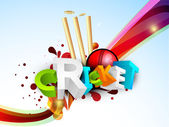 Colorful text Cricket on abstract background. — Vector de stock