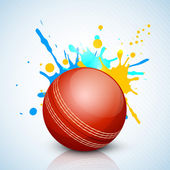 Abstract sports concept with shiny cricket ball on wave backgrou — Stock Vector