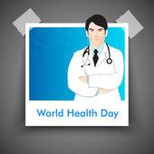 Concetto di giorno astratto mondo sanitario con l'illustrazione del medico. — Vettoriale Stock