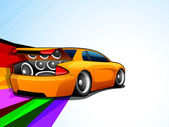Abstract Musical Car with loud speakers. — Stock Vector