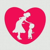 White silhouette of a mother and her son in a pink heart shape f — Stock Vector