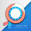 American Independence Day background with badge in flag colors a — Stock Vector