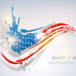 Fourth of July, American Independence Day concept with blue silh — Stock Vector