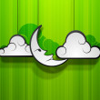 Moon with clouds on green abstract background, concept for Musli - Stock Vector