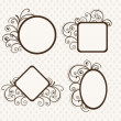 Beautiful floral decorated photo frames in different shapes. — Stock Vector