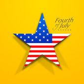 American flag in star shape on yellow background with text Fourt — Stock Vector