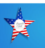 American flag in star shape on blue background with text Fourth — Stock Vector