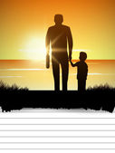Silhouette of father and child at sunset, concept for Happy Fat — Stock Vector