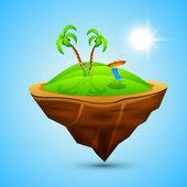 Concepto de verano mañana con playa silla y palmeras en azul b — Vector de stock