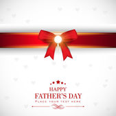 Happy Fathers Day greeting card with red ribbon. — Stock Vector