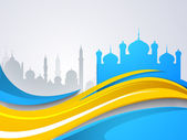 Silhouette of two Mosque or Masjid on colorful waves background. — Stock Vector
