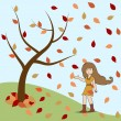 Young girl standing under the tree in autumn season.. — Imagen vectorial