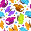 Stock Vector: Seamless pattern with colorful butterflies.