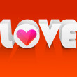 Stylized 3D text Love on red background. — Stock Vector