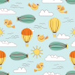 Hot Air Balloons flying in sky, vintage seamless pattern backgro — Image vectorielle