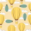 Hot Air Balloons flying in sky, vintage seamless pattern backgro - Stock Vector