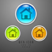 Glossy 3D web 2.0 home or homepage symbol icon set. EPS 10. — Stock Vector